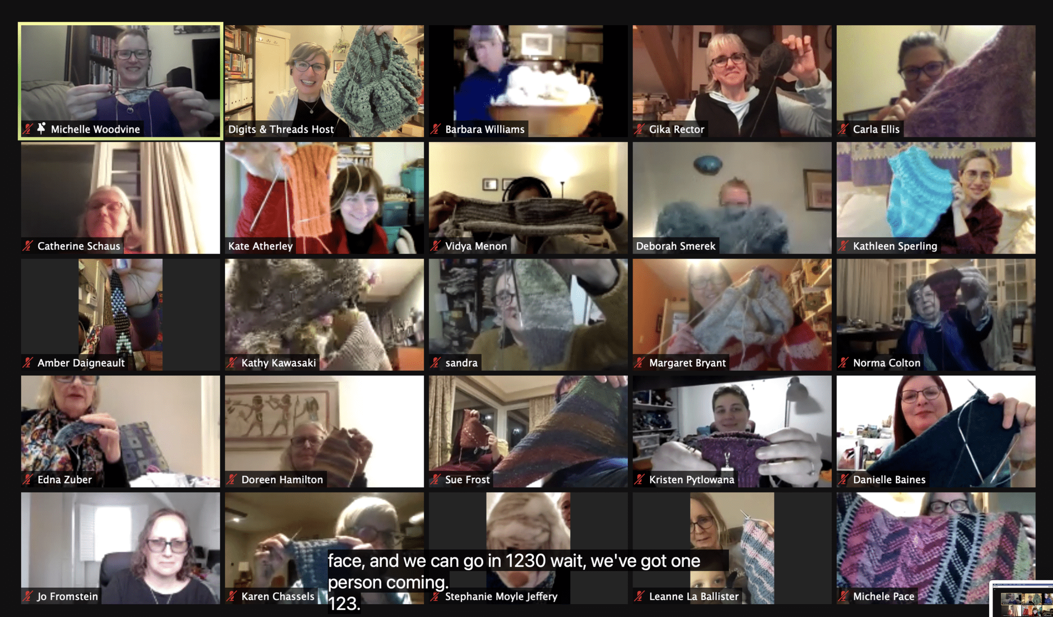 Image description: Zoom screenshot with attendees holding up projects.